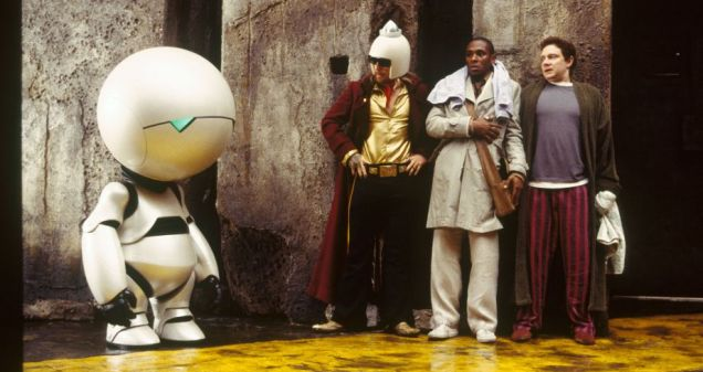 Marvin, Zaphod, Ford and Arthur in the film version of The Hitchhiker's Guide To The Galaxy