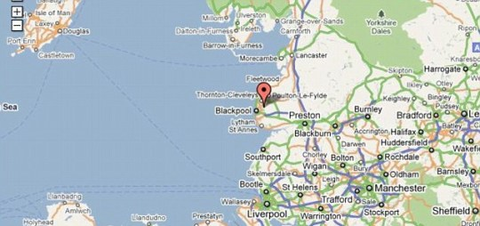 Tremor: The location of the quake that struck of the coast of Blackpool (Pic: Google)