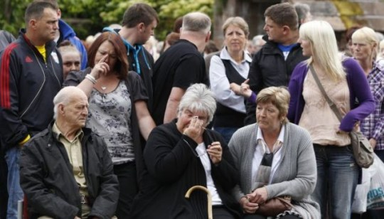 Mourners at St Nicholas Chruch, Whitehaven