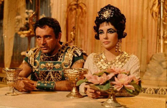 Richard Burton and Elizabeth Taylor in a scene from the film 'Cleopatra', 1963.