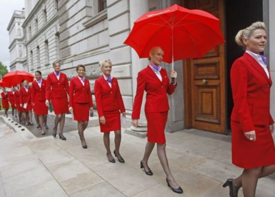 Protest: Virgin staff outside the Treasury yesterday Picture: PA