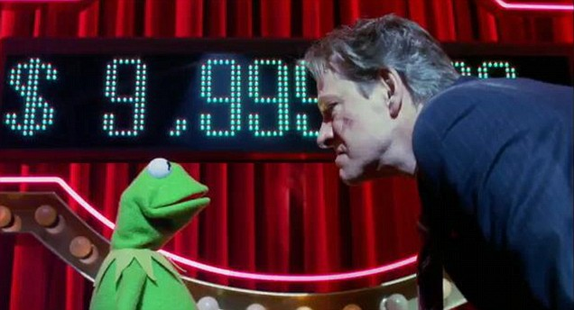 Kermit and Chris Cooper in the new The Muppets trailer
