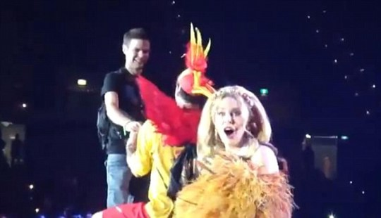 Kylie Minogue show her shock as fan Ben proposes to his boyfriend Scott on stage