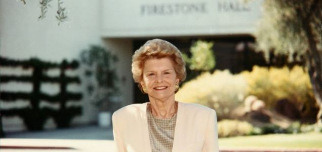 Betty Ford outside the Betty Ford Center in California in 1990 (Picture: