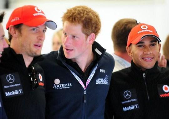 Prince Harry, Jenson Button, Lewis Hamilton