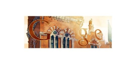 Sir George Gilbert Scott's birthday Google Doodle, showing a view of Scott's St. Pancras hotel