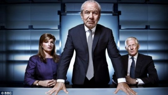 Lord Sugar, Nick Hewer and Karren Brady The Apprentice final