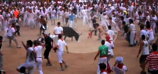 Naked man gored by bull in Pamplona bull charging competition not dead