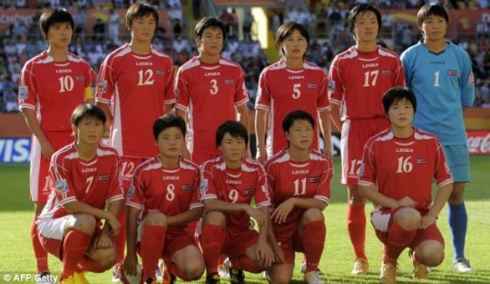 North Korea's team at the Women's World Cup before the tournament began this month