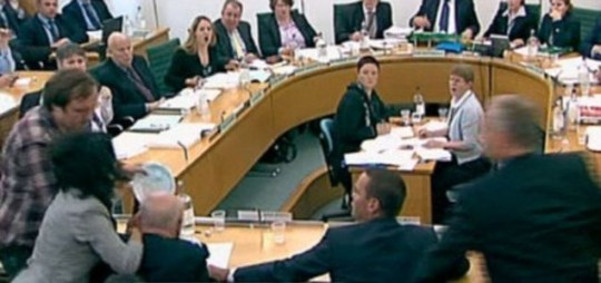 Jonnie Marbles attacks Rupert Murdoch at  Commons committee hearing