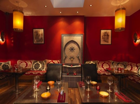 Interior of El Cantara restaurant, a Moroccan paradise with a hint of Spanish influences