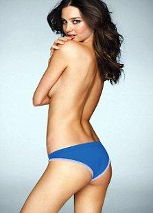 Miranda Kerr blue knickers topless Victoria's Secret lingerie photoshoot