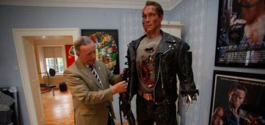 Peter Urdl preparing a life-sized figure of Arnold Schwarzenegger on display in the exhibition rooms of the Arnold Schwarzenegger Museum in Thal, near the city of Graz, Austria