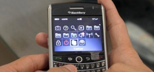 A BlackBerry: RIM's UK blog was hacked by a group called Team Poison (Picture: AP)