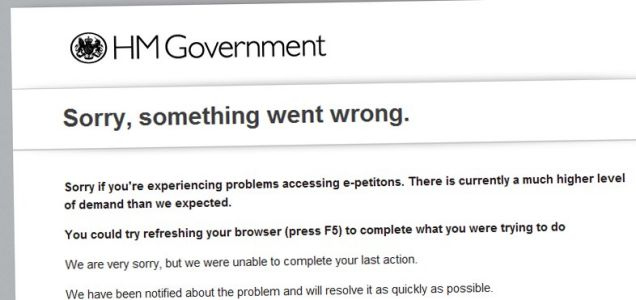 'Something went wrong' - the government's e-petitions website has been struggling under the traffic