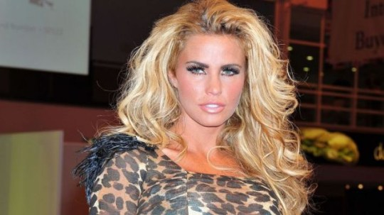 Katie Price poses for pictures as she models a dress in her new fashion collection
