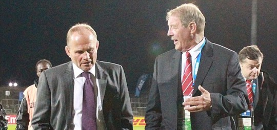 Scotland Coaches Andy Robinson (left) and Ritchie Dixon (right)