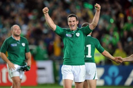 Ireland's Jonathan Sexton celebrates a famous victory over Australia at the Pool C match of the 2011 IRB Rugby World Cup. at Eden Park, Auckland, New Zealand