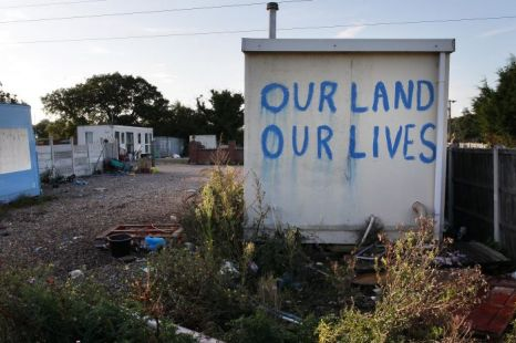 A slogan is painted on a hut at Dale Farm travellers' camp in Basildon, England (Picture: Getty)