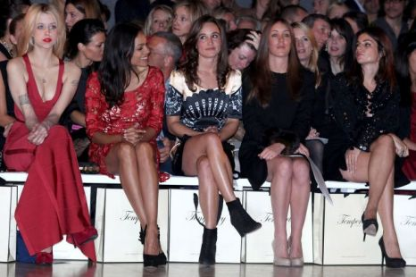 Pippa Middleton (centre) is joined by  Peaches Geldof (far left) Rosario Dawson (second left) at the Temperley show at London Fashion Week