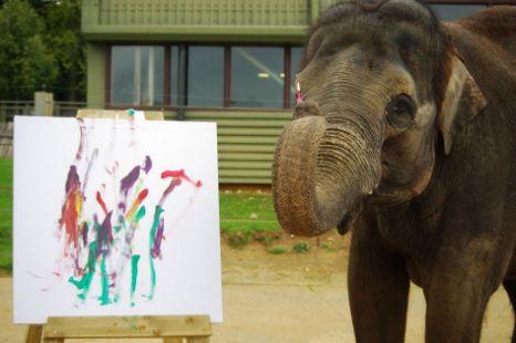 Karishma the elephant, painting