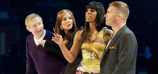 X Factor judges Louis Walsh,Tulisa Contostavlos, Kelly Rowland and Gary Barlow discuss the contestants at boot camp