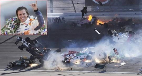 Indy Car crash killed Dan Wheldon (car 77 and inset) in Las Vegas