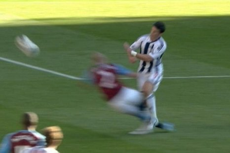 Aston Villa's Alan Hutton dives in on West Brom's Shane Long (Picture: BBC)