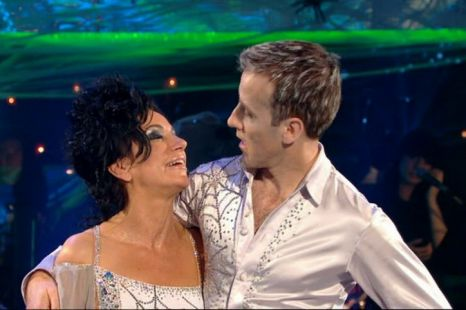 Nancy Dell'Olio says goodbye to Strictly Come Dancing partner Anton du Beke. (Picture: BBC)