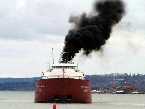 Ship emitting fumes