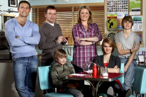Lucy Beale (bottom right), with the rest of the family in EastEnders. (Picture: BBC)