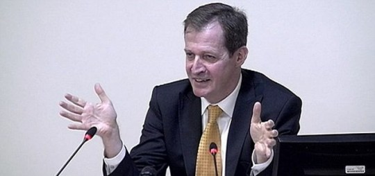 Alastair Campbell speaking at the Leveson Inquiry