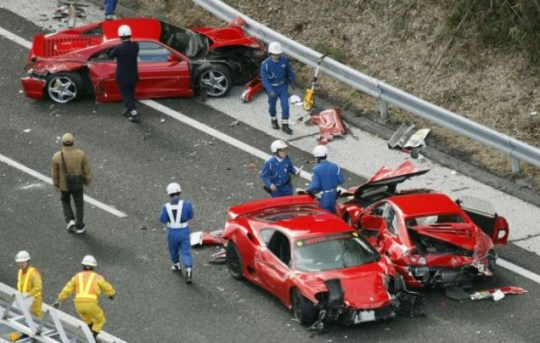 Worlds Most Expensive Car Crash Sees Eight Ferraris In Motorway
