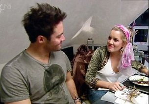 Caggie and Spencer cook for each other during Come Dine With Me. (Picture: E4)