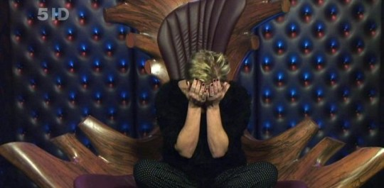 Denise Welch buries her head in her hands in the CBB diary room (Picture: Channel 5)