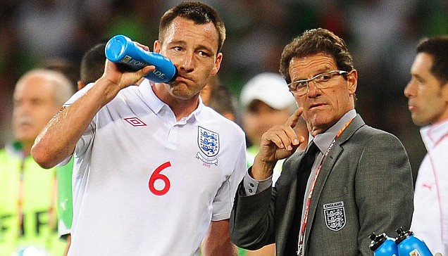 Fabio Capello speaking to John Terry