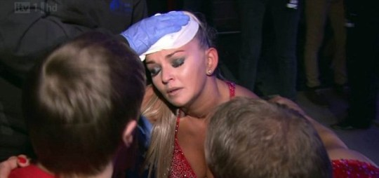 Jennifer Ellison was injured during Dancing On Ice's live show (Picture: ITV)