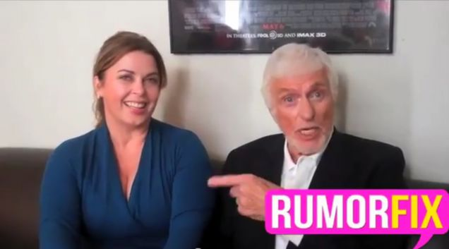 Dick Van Dyke points at his new wife