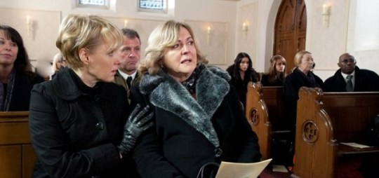 Anne Foster attended her son Frank's funeral, with no-one knowing she was responsible for his death (Picture: ITV)