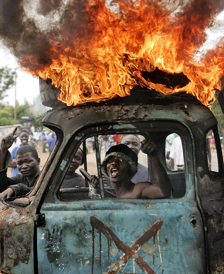 kenya burning car