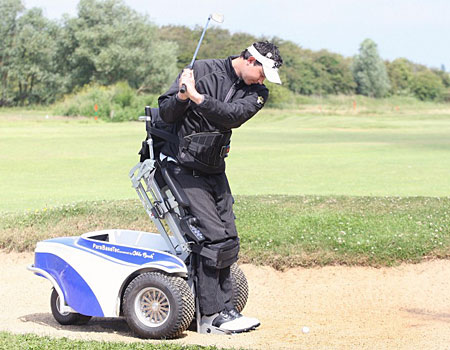 Playing for real: Graham Hunt uses the Paragolfer to help him at Frinton-on-Sea Golf Club