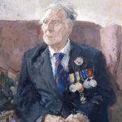 A painting of Harry Patch, one of the last surviving veterans of World War I