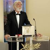 Michael Haneke accepts the Palme d'Or award for his film The White Ribbon