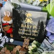 Tributes for Baby Peter at the site where his ashes were scattered at Islington Crematorium in north London
