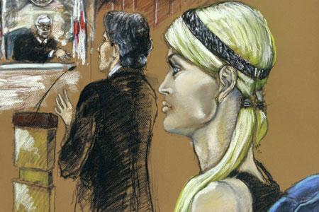 Artist's impression of Paris Hilton in court