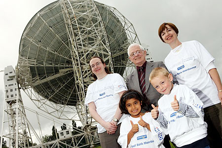 Space race: Back, Stefan Croker, Raymond Tait and Lydia Stanley, and front, Ayesha Ghose and Jack Walsh at Jodrell Bank