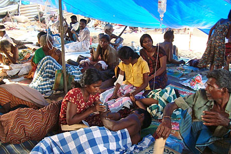 Tamils try to seek shelter in the strip