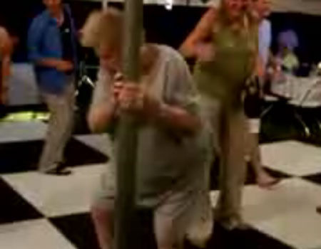 Granny pole dancer