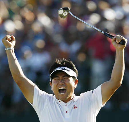 Yang celebrates after his shock US PGA Championship victory