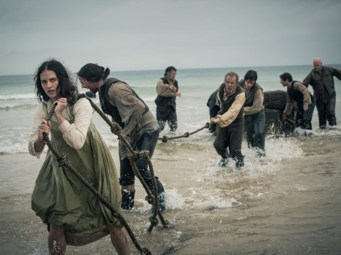 No, this is not Lady Sybil in Les Miserables – it's Jessica Brown Findlay working up a sweat in Jamaica Inn